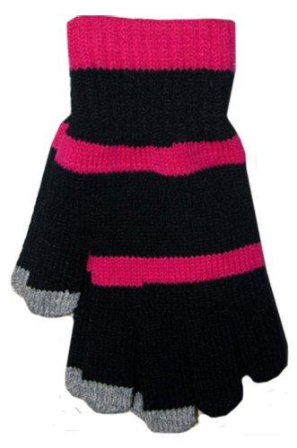 BOSS Tech Produkte Knit Touchscreen Handschuhe mit leitfähigen Fingerspitzen schwarz/pink -