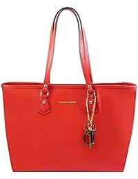 Tuscany Leather - TL KeyLuck - Sac à épaule TL SMART en piel Saffiano avec deux anses - Rouge