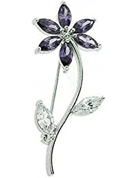 Broche fleur violette et blanche zircone cubique Argent sterling