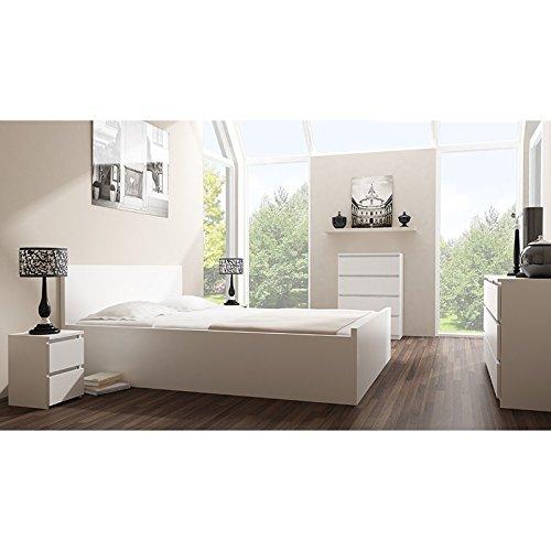 Galdem Kommode mit 4 Schubladen Sideboard Mehrzweckschrank Anrichte Diele Flur Esszimmer Wohnzimmer Weiß - 4