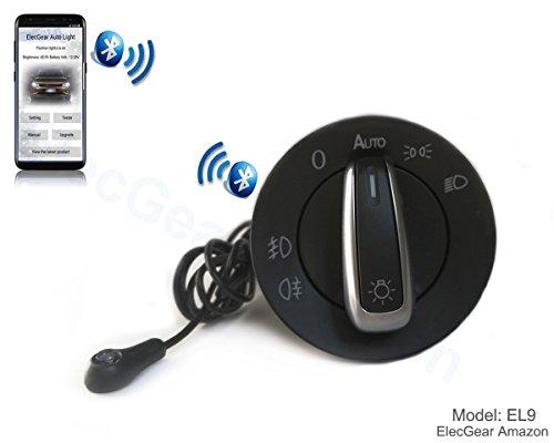 Automatiklicht Lichtsensor Steuermodul Lichtschalter - ElecGear EL9 Bluetooth Light Sensor Control Headlight Headlamp Fog Switch Scheinwerferschalter Hauptlichschalter mit Android und iOS iPhone App für VW, Seat, Skoda - Chrome Finish 8-licht
