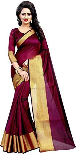 Alka Fashion Maroon Color South Polycotton Fabric Saree With Blouse Pices (Afs237-Code)