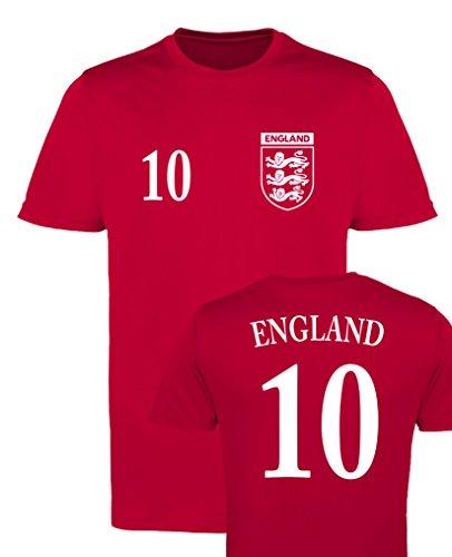 WM EM Trikot - England 10 - Herren T-Shirt - Rot/Weiss Gr. 3XL