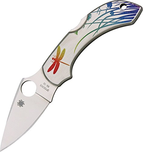 Spyderco C28pt Dragonfly Tattoo, Stainless w/Poly-Chromatic Handle, Plain, bunt, small -
