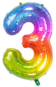 Folat Globo de lámina Yummy Gummy Rainbow Número 3-86 cm, multicolor (63243)