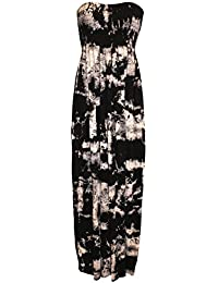 nieuwe dames sheering boob tube maxi jurk big size vrouwen strapless lange maxi gedrukt zomer jurk plus size 44-50 XL XXL