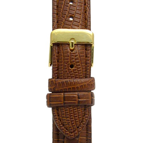 genuine-leather-watch-strap-band-padded-lizard-grain-18mm-brown-with-gilt-gold-colour-buckle