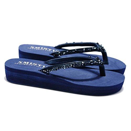 SHANGXIAN verre de forage de femmes Plage solide Comfort Thong Sandal blue