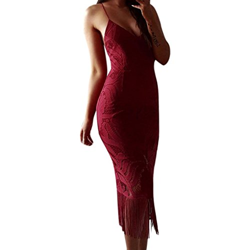 Dragon Frauen Bodycon Lace Ärmelloses Backless Abendkleid Rot