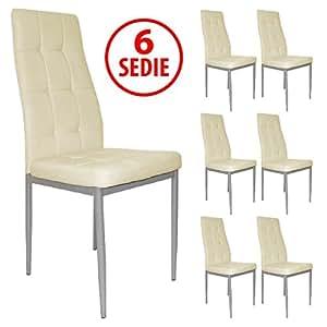 Set x6 sedie per tavolo cucina soggiorno sala da pranzo for Set sedie cucina