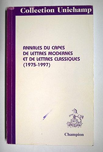 Annales du CAPES de lettres modernes et de lettres...