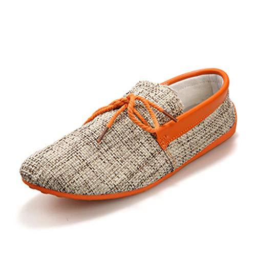 New Casual Comfortable Breathable Men Shoes Woven Peas Shoes Fashion Set Foot Lazy Single Shoes Soft Bottom Men Flat Shoes Orange 43