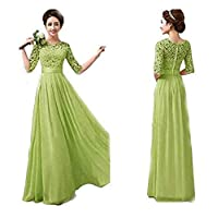 Duplus Evening Lace Dress For Women - Large, Green
