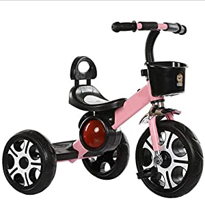 TX 3-6 Years Old Baby Tricycle Children Boys Girls 3 Increase Sized PU Wheel Toddler Musical Pedal Bicycle,Pink   13