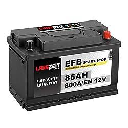 LANGZEIT Autobatterie EFB Batterie Start-Stop Starterbatterie (85Ah 12V)