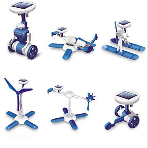XuBa 6-in-1 Solar-Spielzeug-Set Roboter Windmühle Flugzeug Auto Bildung Solar-Kit Neuheit Solar-Roboter für Kinder Jungen Gril Geschenke Wie abgebildet Solar-auto Kits