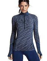 SYROKAN Damen Sport Shirt Sweatshirts Langärmliges Nahtlos Daumenlöcher,Half Zip Sweater Marine 36