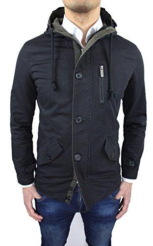 Giaccone Parka uomo nero slim fit giacca giubbotto invernale casual (XL)