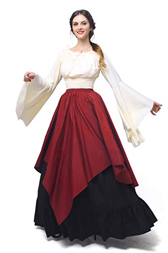 Disney Princess Fancy Dress Kostüm - Nuoqi Mittelalterliches Kostüm Women lange Ärmel