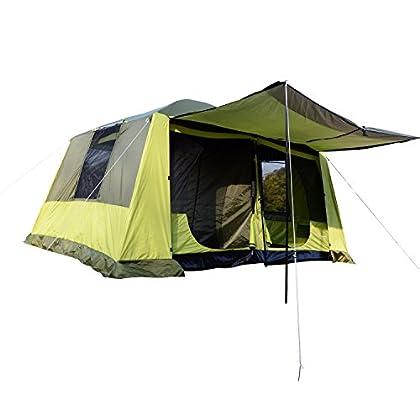 Outsunny Tienda de Campaña Familiar 4-8 Personas Carpa Grande Acampada Tipo Refugio para Playa Picnic Portátil y Impermeable con Bolsa de Transporte Mosquitera Protección Solar UV 410x310x225cm