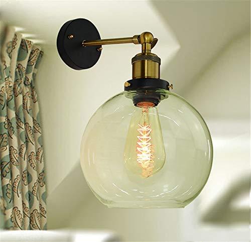 Hzhur lampada da parete vintage cucina camera da letto soggiorno passerella applique da parete coperchio in vetro di ferro, diametro 20 cm bianco latte