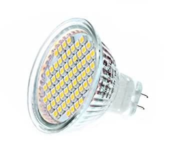 10 X Ampoules LED MR16 (GU5.3) 60SMD - 4 Watts 12V 6000k Blanc Froid 320 lm 120° angle avec verre de protection