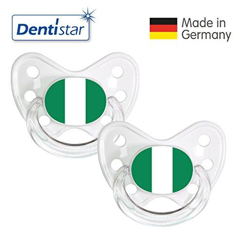 Dentistar® Silikon Schnuller 2er Set inkl. 2 Schutzkappen - Nuckel Größe 3, ab 14 Monate – Fahnen Fan Kollektion – Nigeria