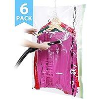 ISENPENK 6 tlg Set Vakuumbeutel Kleidersack 105x70cm Kleiderbeutel hängend Aufbewahrungsbeutel mit Pumpe, Kleidersäcke Transparent Staubschutz für Manteln Jacken Anzüge