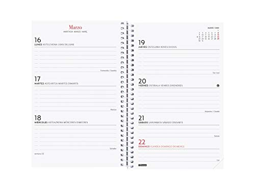 Agenda 2020 semana vista apaisada Espiral Design Collection Romantic espa/ñol Finocam
