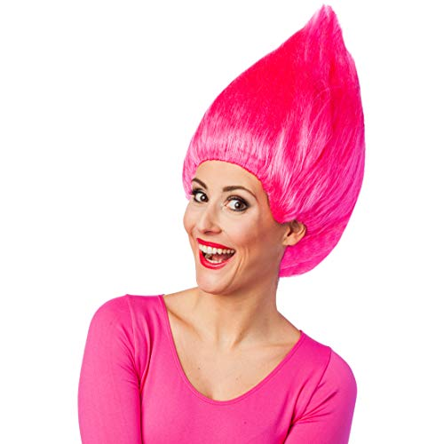 Troll-Perücke für Erwachsene | Pink | Ausgefallenes Unisex-Kostüm-Zubehör Zwerg | EIN Blickfang für Karneval & Themenabend ()