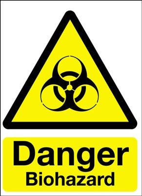 Cartello segnaletico di pericolo, con logo Biohazard