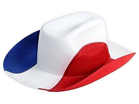 Chapeau cowboy bleu blanc rouge pour adulte homme et femme (Alsino 00/0997) supporter des bleus soirée à thème évenement national sportif vive la France fête république 14 juillet en feutre de qualité