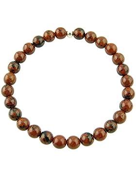 Sunsara Traumsteinshop Mahagoniobsidian Armband Edelstein Kugeln (Perlen) 6 mm und 925er Silberkugel Heilsteinarmband...