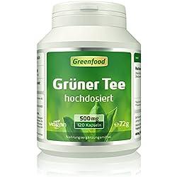 Grüner Tee, 500 mg, hochdosierter Extrakt, 120 Vegi-Kapseln – hilft beim Abnehmen, erhöht Fettverbrennung und den Energieverbrauch, beruhigt und entspannt. OHNE künstliche Zusätze. Ohne Gentechnik. Vegan.