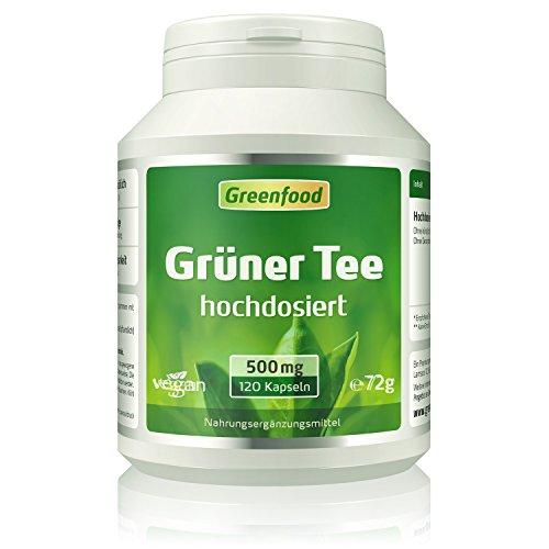 Grüner Tee Extrakt, 500mg, hoch konzentriert (90% Polyphenole), 120 Kapseln, vegan – ohne künstliche Zusatzstoffe