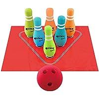 Solex Kids Bowling Set Spielzeug 6 Kegel Schaumstoff-Ball Spielfeldmatte Kinder Bowlingspiel für drinnen draußen bunt
