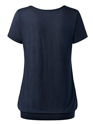 DJT Femme T-shirt Hauts ete Manches courtes Col V a boutons Ourlet serre Marine
