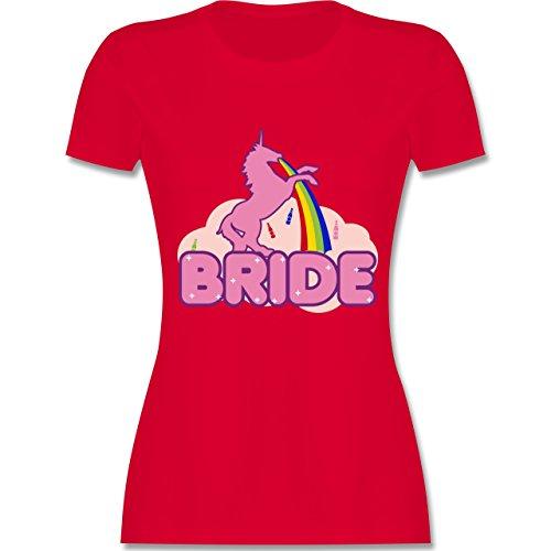 Shirtracer JGA Junggesellinnenabschied - JGA Bride Einhorn - Damen T-Shirt Rundhals Rot