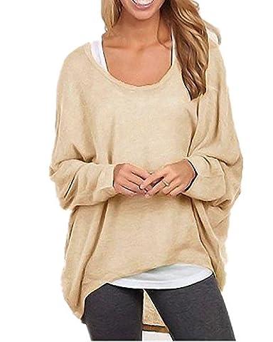 ZANZEA Sexy Women Loose Solid Irregular Long Sleeve Baggy Jumper Casual Tops Blouse T-Shirt Beige L
