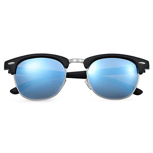 Yveser Polarisierte Sonnenbrille für Männer & Frauen (Blaue Linse/Schwarze Matte Rahmen)
