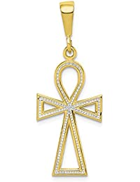 10k Yellow Gold Cross Religious Pendant Charm Necklace Ankh Fine Jewelry For Women Gift Set