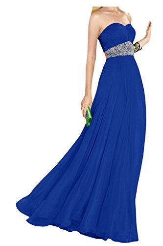 Ivydressing Damen Rueckenfrei Herzform Promkleid Chiffon Lang Festkleid Abendkleider Royalblau