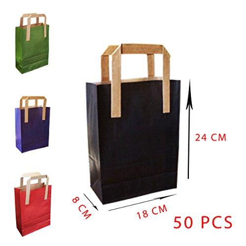 Bolsa de papel - Bolsas de papel - kraft - 18 x 8 x 24 - 70 g - 50 piezas - Papel de estraza marrón - 100% reciclable