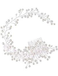 SODIAL Tocado de boda Banda de pelo de perla Banda de cabeza hecha a mano de flor blanca Cepillo para el pelo Joya de pelo de novia Peine