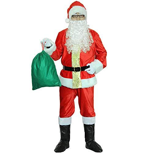 GLP Herren Santa Father Weihnachten bärtigen Kostüm Ball Kostüm Weihnachten Kleidung Set Luxus Luxus hohe Kostüm rot 9 Stück ()