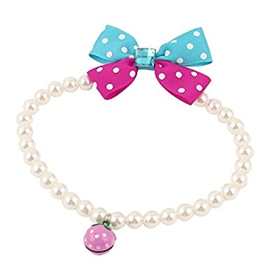Dots Print Bowtie Accent Pet Bead Collar Necklace L White