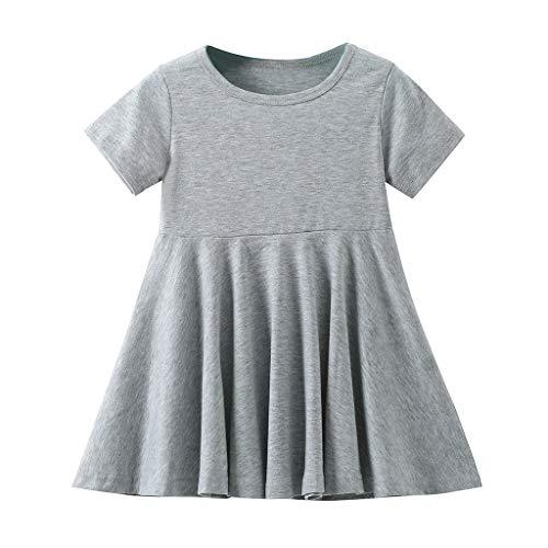 Kurzarm Kleid Kinder Mädchen Swing Eine Linie Asymmetrisch Saum Kleid -
