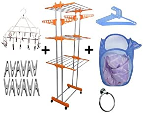 TNC Stainless Steel DoublePoll Cloth Dryer Stand with Laundry Bag,6Pc Hanger,12c Clips,1Ss Jhumar, 1Ss NapkinTowel Ring, Standard Size(Multicolour)