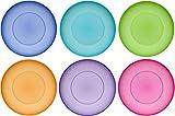 idea-station NEO Kunststoff-Teller 17 cm 6 Stück farbig bunt rund stapelbar, perfekt für als als Kuchen-Teller, Snack-Teller einsetzbar, perfekt für Vorspeisen, Nachspeisen, spülmaschinenfest