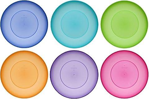 idea-station NEO plaque en plastique appropriés 17.5 cm, 6 pièces, coloré, rond, empilable, comme parfait pour être utilisé comme une assiette à tarte, plaque snack, parfait pour des apéritifs, plats principaux, desserts, lave-vaisselle